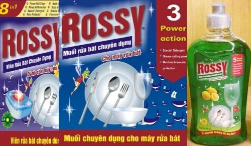 bộ xà phòng rửa bát Rossy all in one gồm viên rửa bát rossy, muối rửa bát rossy, nước làm bóng rossy