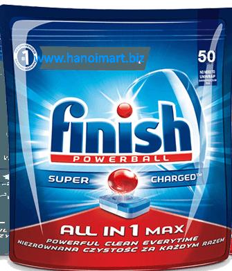 viên rửa bát finish 50 viên all in 1 max dùng cho máy rửa bát chén
